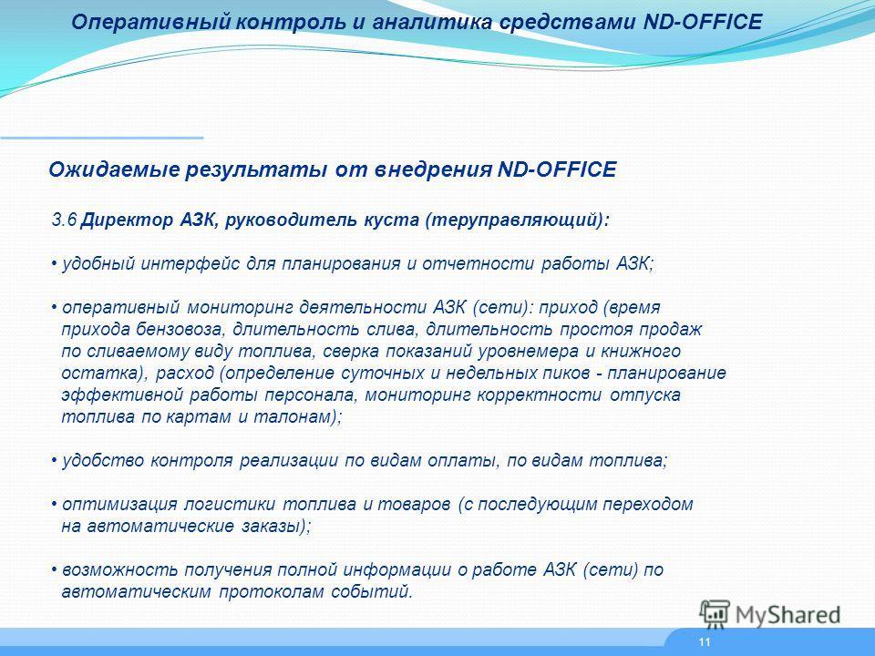 Оперативный контроль и аналитика средствами ND-OFFICE Ожидаемые результаты от внедрения ND-OFFICE 3.6 Директор АЗК, руководитель куста (теруправляющий): удобный интерфейс для планирования и отчетности работы АЗК; оперативный мониторинг деятельности А