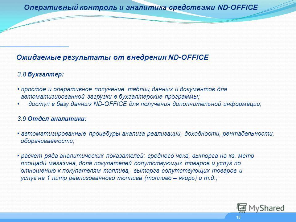 Оперативный контроль и аналитика средствами ND-OFFICE Ожидаемые результаты от внедрения ND-OFFICE 3.8 Бухгалтер: простое и оперативное получение таблиц данных и документов для автоматизированной загрузки в бухгалтерские программы; доступ в базу данны