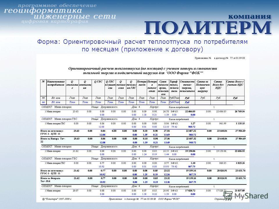 Форма: Ориентировочный расчет теплоотпуска по потребителям по месяцам (приложение к договору)