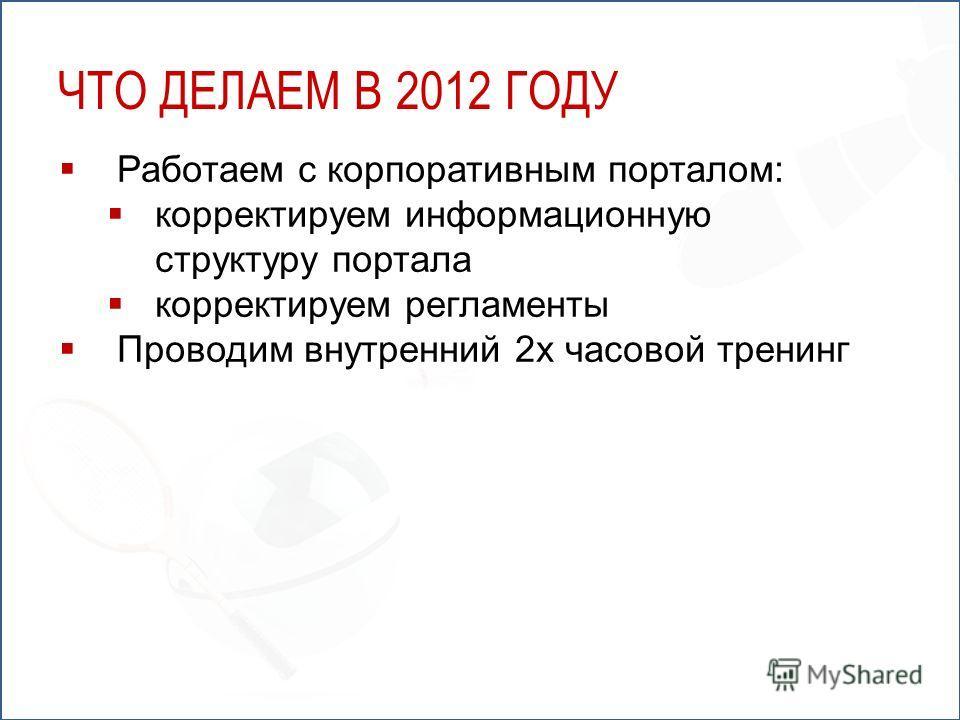 Работаем с корпоративным порталом: корректируем информационную структуру портала корректируем регламенты Проводим внутренний 2х часовой тренинг ЧТО ДЕЛАЕМ В 2012 ГОДУ