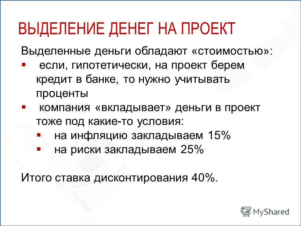 Выделенные деньги обладают «стоимостью»: если, гипотетически, на проект берем кредит в банке, то нужно учитывать проценты компания «вкладывает» деньги в проект тоже под какие-то условия: на инфляцию закладываем 15% на риски закладываем 25% Итого став