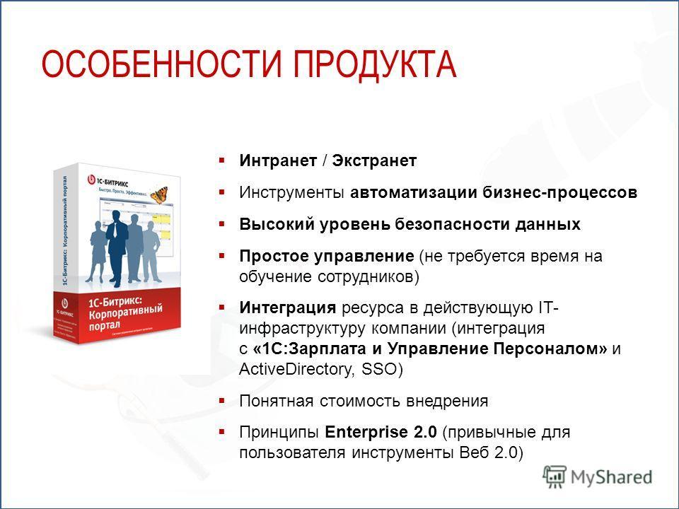 Интранет / Экстранет Инструменты автоматизации бизнес-процессов Высокий уровень безопасности данных Простое управление (не требуется время на обучение сотрудников) Интеграция ресурса в действующую IT- инфраструктуру компании (интеграция с «1С:Зарплат