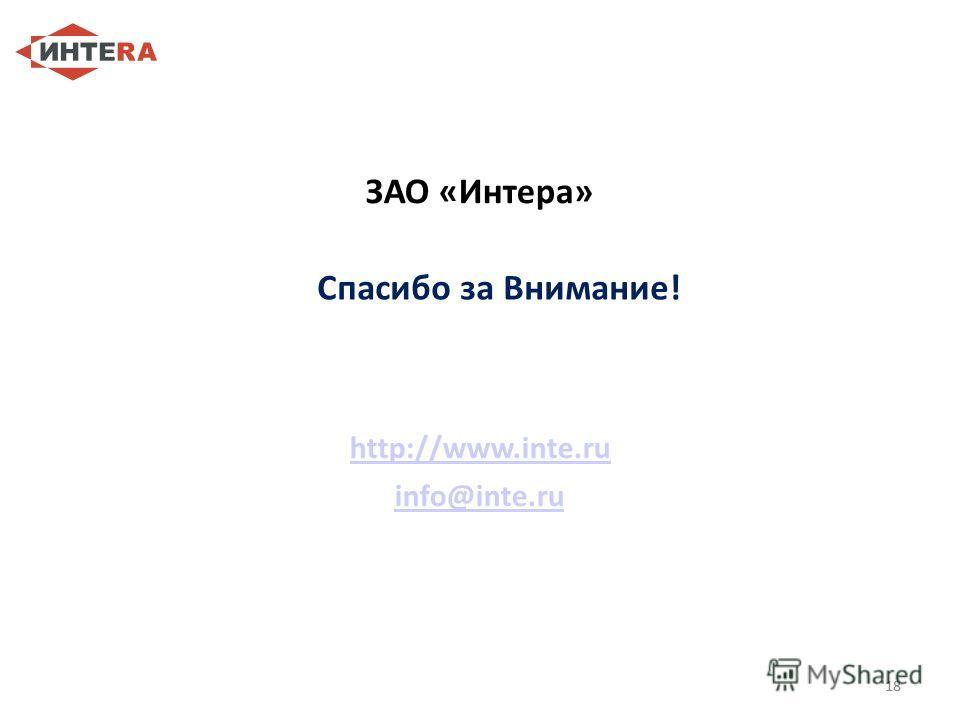 18 ЗАО «Интера» http://www.inte.ru info@inte.ru 18 Спасибо за Внимание!