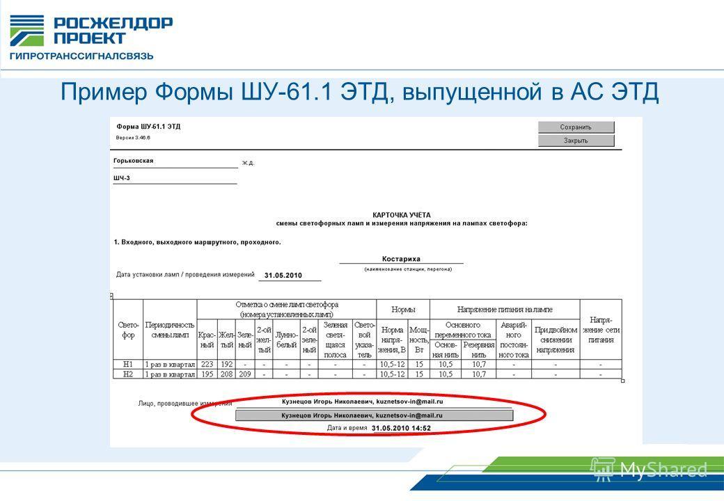 Пример Формы ШУ-61.1 ЭТД, выпущенной в АС ЭТД