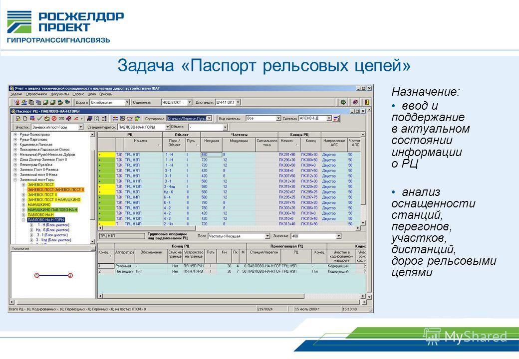 Задача «Паспорт рельсовых цепей» Назначение: ввод и поддержание в актуальном состоянии информации о РЦ анализ оснащенности станций, перегонов, участков, дистанций, дорог рельсовыми цепями
