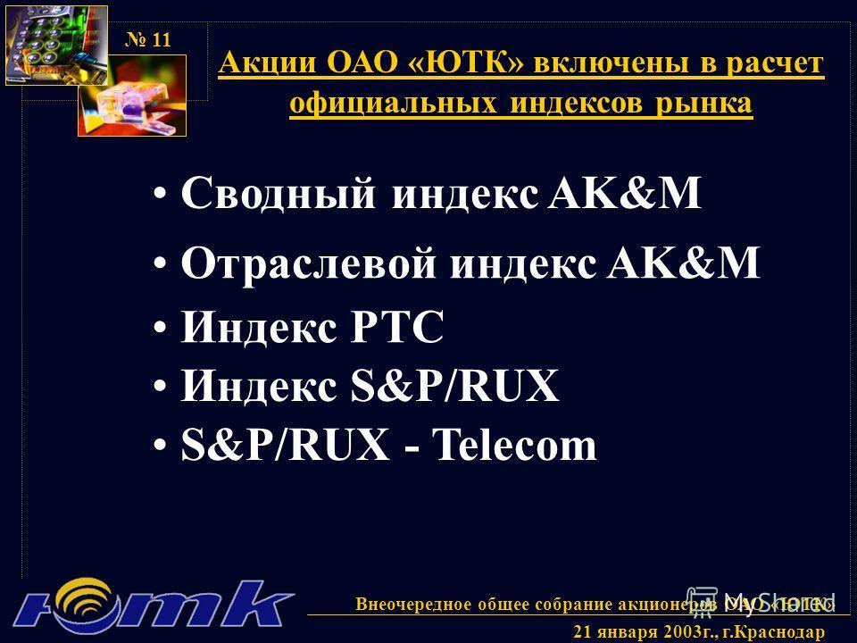 Внеочередное общее собрание акционеров ОАО «ЮТК» 21 января 2003г., г.Краснодар 11 Акции ОАО «ЮТК» включены в расчет официальных индексов рынка Сводный индекс AK&M Отраслевой индекс AK&M Индекс РТС Индекс S&P/RUX S&P/RUX - Telecom