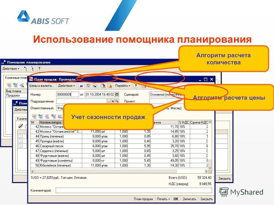 Использование помощника планирования Алгоритм расчета количества Алгоритм расчета цены Учет сезонности продаж