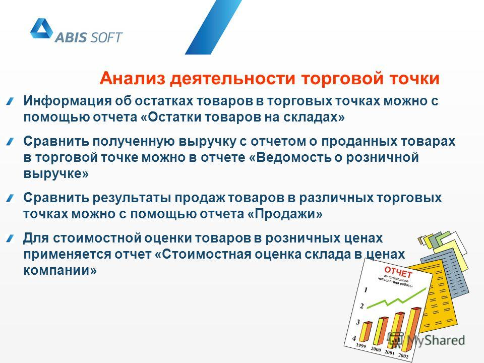 Анализ деятельности торговой точки Информация об остатках товаров в торговых точках можно с помощью отчета «Остатки товаров на складах» Сравнить полученную выручку с отчетом о проданных товарах в торговой точке можно в отчете «Ведомость о розничной в