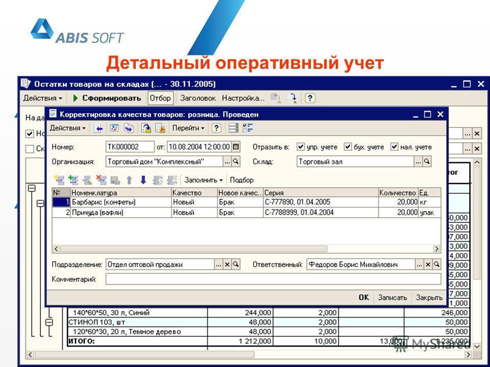 Детальный оперативный учет Учет товаров ведется в разрезе характеристик, серий и единиц измерения товаров Отчеты можно получать в разрезе нескольких единиц измерения Анализ данных можно проводить в разрезе характеристик и серий товаров Учет некондици
