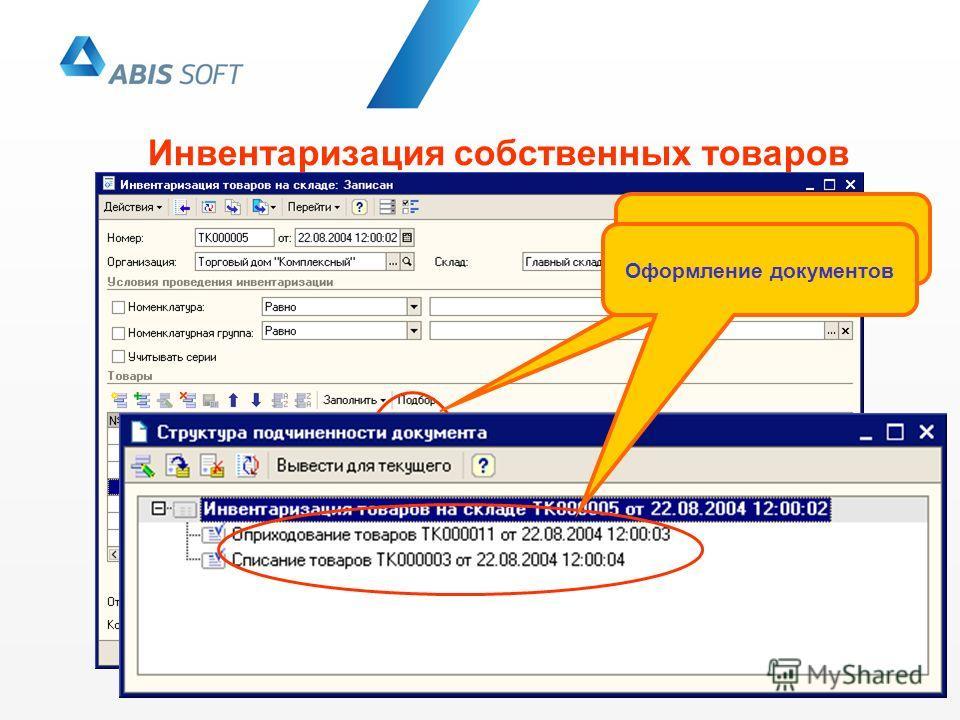 Инвентаризация собственных товаров Регистрация отклонений Оформление документов