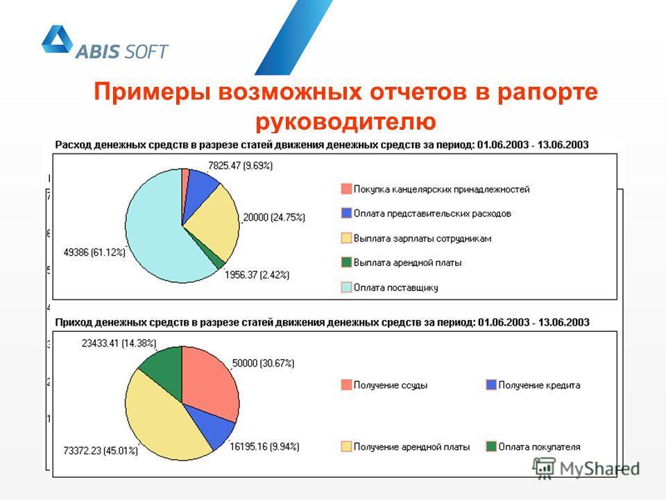 Примеры возможных отчетов в рапорте руководителю