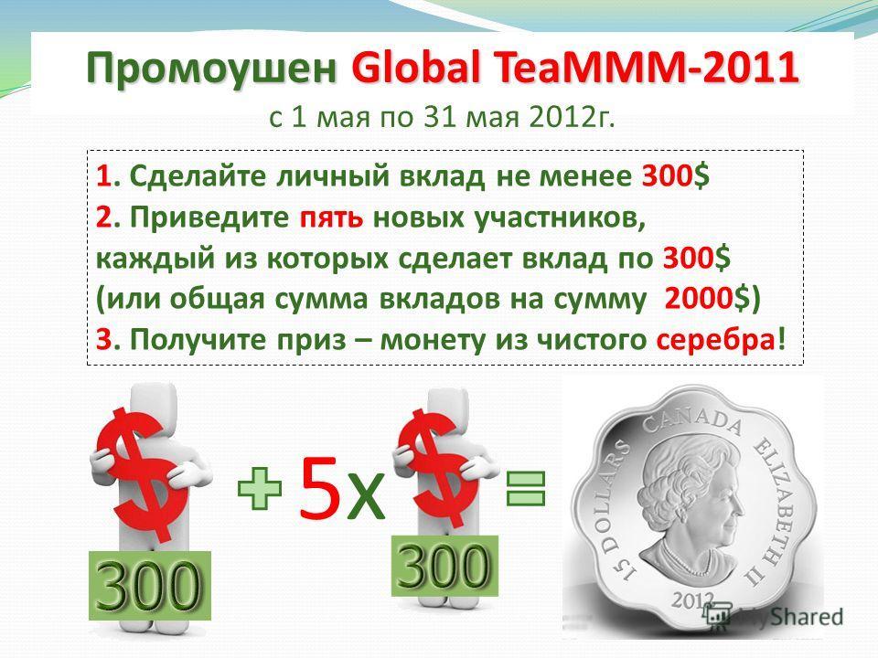 Промоушен Global TeaMММ-2011 с 1 мая по 31 мая 2012г. 1. Сделайте личный вклад не менее 300$ 2. Приведите пять новых участников, каждый из которых сделает вклад по 300$ (или общая сумма вкладов на сумму 2000$) 3. Получите приз – монету из чистого сер