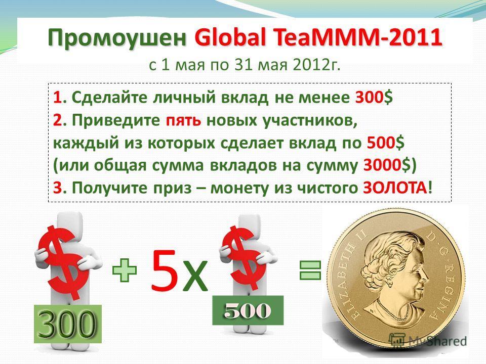 Промоушен Global TeaMММ-2011 с 1 мая по 31 мая 2012г. 1. Сделайте личный вклад не менее 300$ 2. Приведите пять новых участников, каждый из которых сделает вклад по 500$ (или общая сумма вкладов на сумму 3000$) 3. Получите приз – монету из чистого ЗОЛ