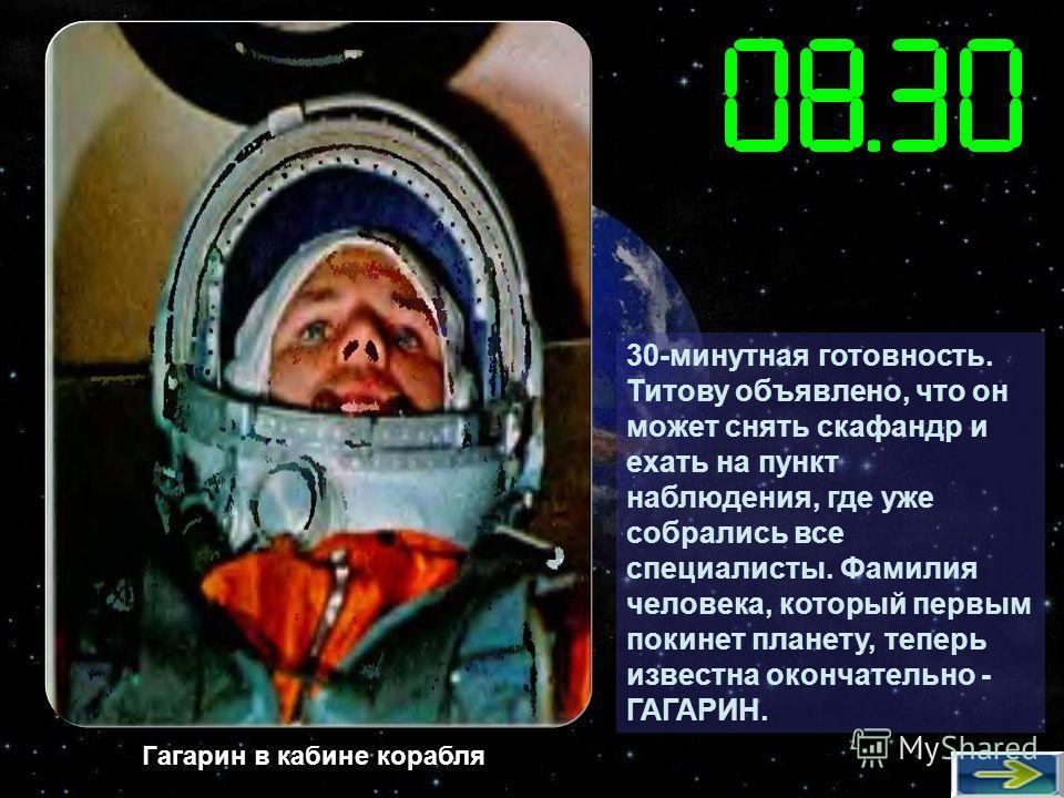 30-минутная готовность. Титову объявлено, что он может снять скафандр и ехать на пункт наблюдения, где уже собрались все специалисты. Фамилия человека, который первым покинет планету, теперь известна окончательно - ГАГАРИН. Гагарин в кабине корабля