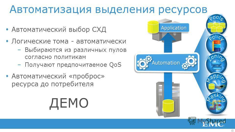 12 Автоматический выбор СХД Логические тома - автоматически –Выбираются из различных пулов согласно политикам –Получают предпочитаемое QoS Автоматический «проброс» ресурса до потребителя Автоматизация выделения ресурсов ДЕМО
