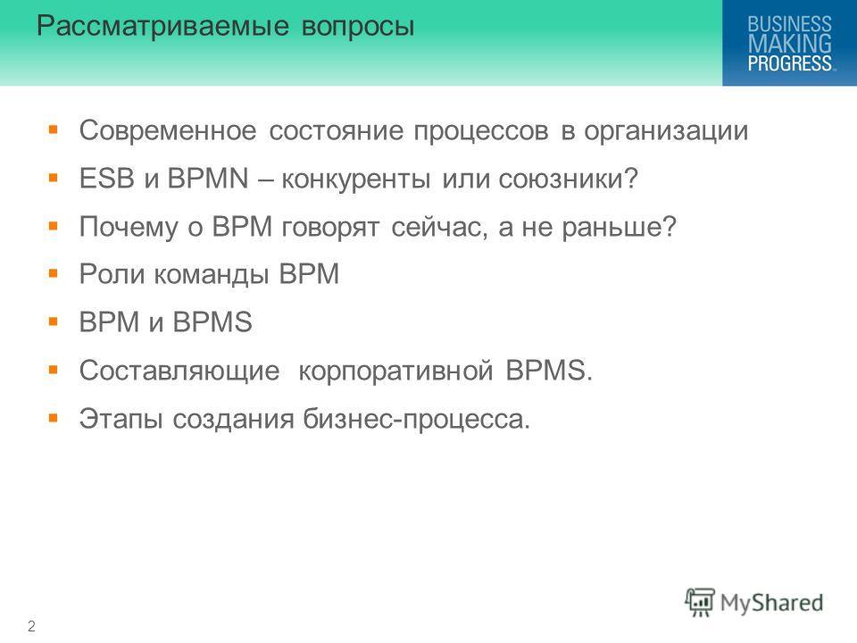 2 Рассматриваемые вопросы Современное состояние процессов в организации ESB и BPMN – конкуренты или союзники? Почему о BPM говорят сейчас, а не раньше? Роли команды BPM BPM и BPMS Составляющие корпоративной BPMS. Этапы создания бизнес-процесса.