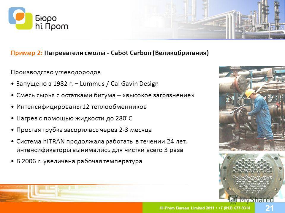 Производство углеводородов Запущено в 1982 г. – Lummus / Cal Gavin Design Смесь сырья с остатками битума – «высокое загрязнение» Интенсифицированы 12 теплообменников Нагрев с помощью жидкости до 280°C Простая трубка засорилась через 2-3 месяца Систем