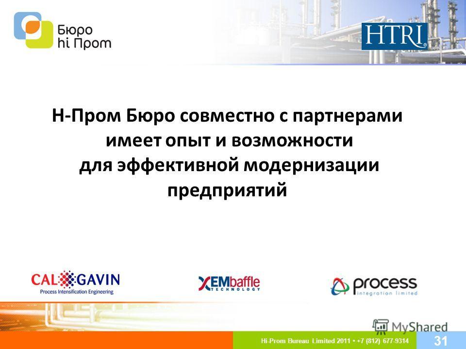 Н-Пром Бюро совместно с партнерами имеет опыт и возможности для эффективной модернизации предприятий Hi-Prom Bureau Limited 2011 +7 (812) 677-9314 31