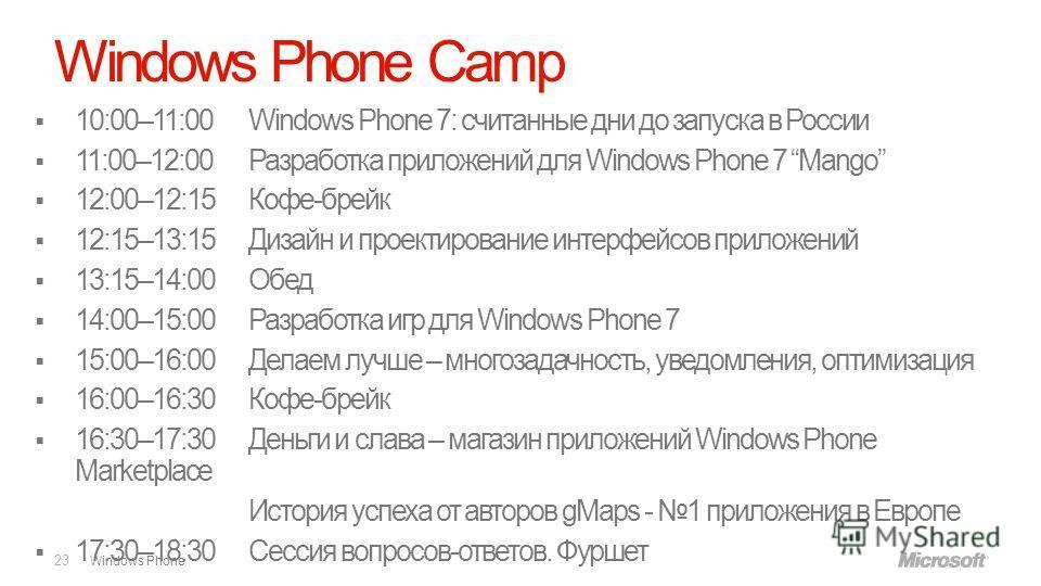 Windows Phone Windows Phone Camp 23 10:00–11:00 Windows Phone 7: считанные дни до запуска в России 11:00–12:00 Разработка приложений для Windows Phone 7 Mango 12:00–12:15 Кофе-брейк 12:15–13:15 Дизайн и проектирование интерфейсов приложений 13:15–14: