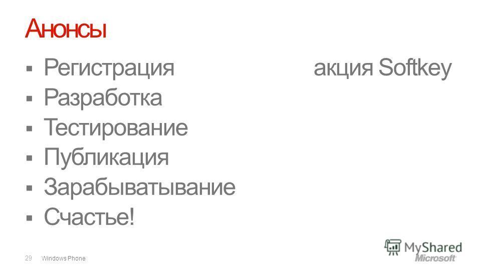 Windows Phone Анонсы 29 Регистрацияакция Softkey Разработка Тестирование Публикация Зарабыватывание Счастье!