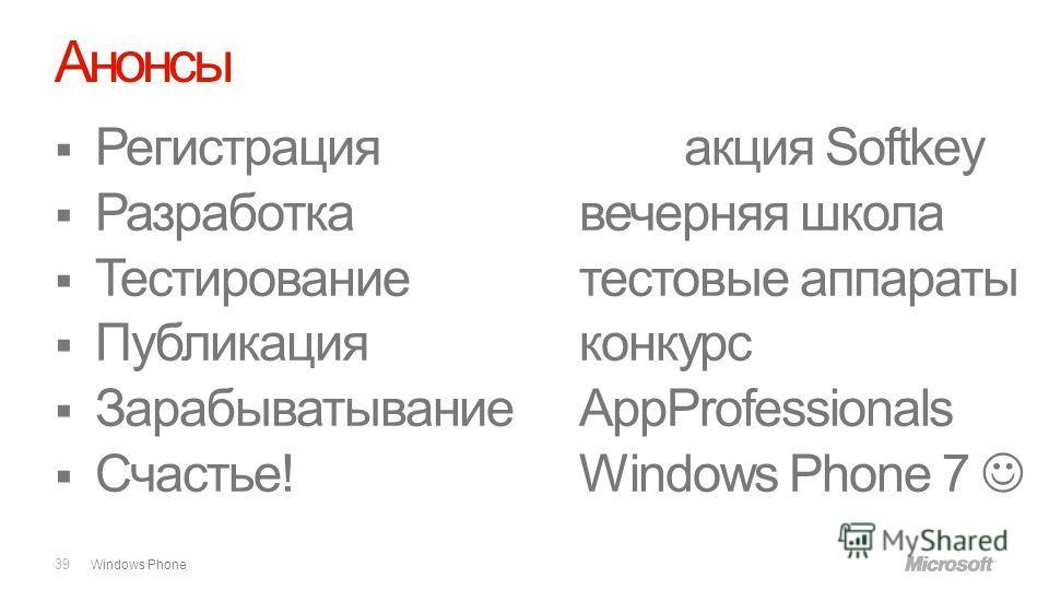 Windows Phone Анонсы 39 Регистрацияакция Softkey Разработкавечерняя школа Тестированиетестовые аппараты Публикацияконкурс ЗарабыватываниеAppProfessionals Счастье!Windows Phone 7