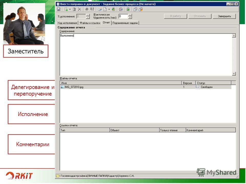 www.rkit.ru РАБОТА С ЗАДАНИЯМИ Заместитель Делегирование и перепоручение Исполнение Комментарии