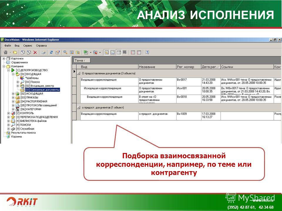 www.rkit.ru АНАЛИЗ ИСПОЛНЕНИЯ Подборка взаимосвязанной корреспонденции, например, по теме или контрагенту www.rkit.ru (3952) 42-87-61, 42-34-68