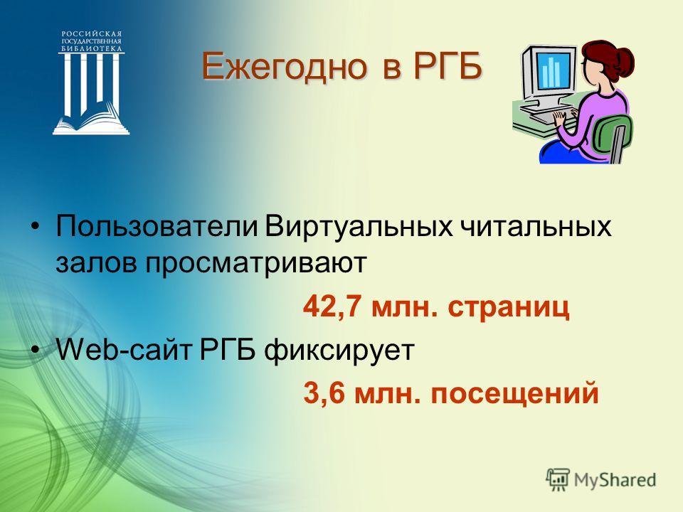 Ежегодно в РГБ Пользователи Виртуальных читальных залов просматривают 42,7 млн. страниц Web-сайт РГБ фиксирует 3,6 млн. посещений
