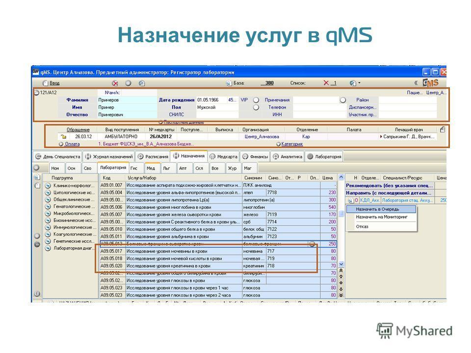 Назначение услуг в qMS