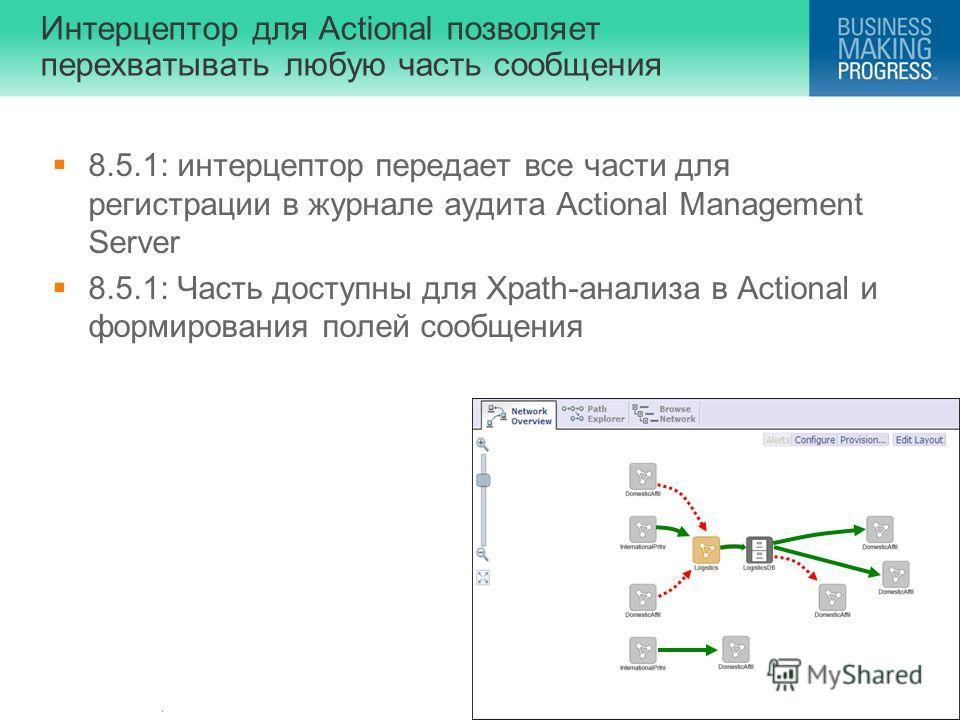 . Интерцептор для Actional позволяет перехватывать любую часть сообщения 8.5.1: интерцептор передает все части для регистрации в журнале аудита Actional Management Server 8.5.1: Часть доступны для Xpath-анализа в Actional и формирования полей сообщен