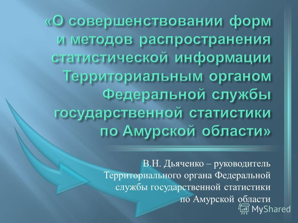 В. Н. Дьяченко – руководитель Территориального органа Федеральной службы государственной статистики по Амурской области