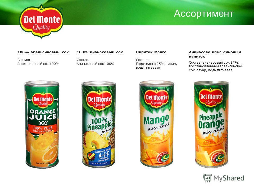 100% апельсиновый сок Состав: Апельсиновый сок 100% 100% ананасовый сок Состав: Ананасовый сок 100% Ананасово-апельсиновый напиток Состав: ананасовый сок 37%, восстановленный апельсиновый сок, сахар, вода питьевая Напиток Манго Состав: Пюре манго 25%
