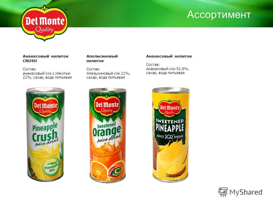 Ананасовый напиток CRUSH Состав: ананасовый сок с мякотью 22%, сахар, вода питьевая Апельсиновый напиток Состав: Апельсиновый сок 22%, сахар, вода питьевая Ананасовый напиток Состав: Ананасовый сок 51,9%, сахар, вода питьевая Ассортимент