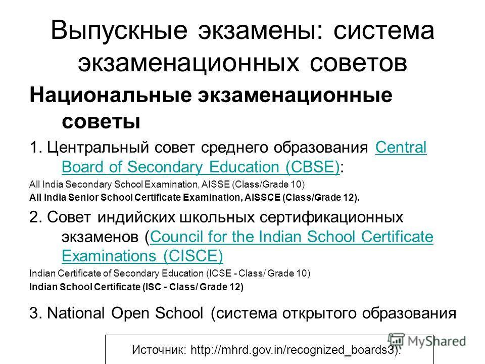 Выпускные экзамены: система экзаменационных советов Национальные экзаменационные советы 1. Центральный совет среднего образования Central Board of Secondary Education (CBSE):Central Board of Secondary Education (CBSE) All India Secondary School Exami