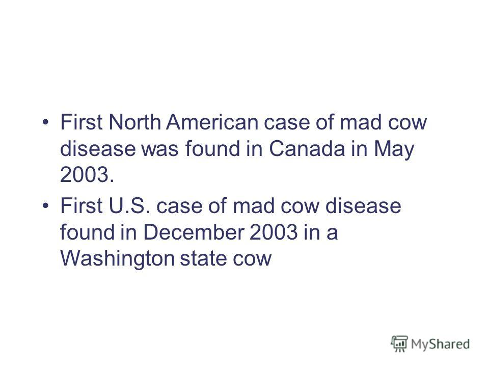 First North American case of mad cow disease was found in Canada in May 2003. First U.S. case of mad cow disease found in December 2003 in a Washington state cow
