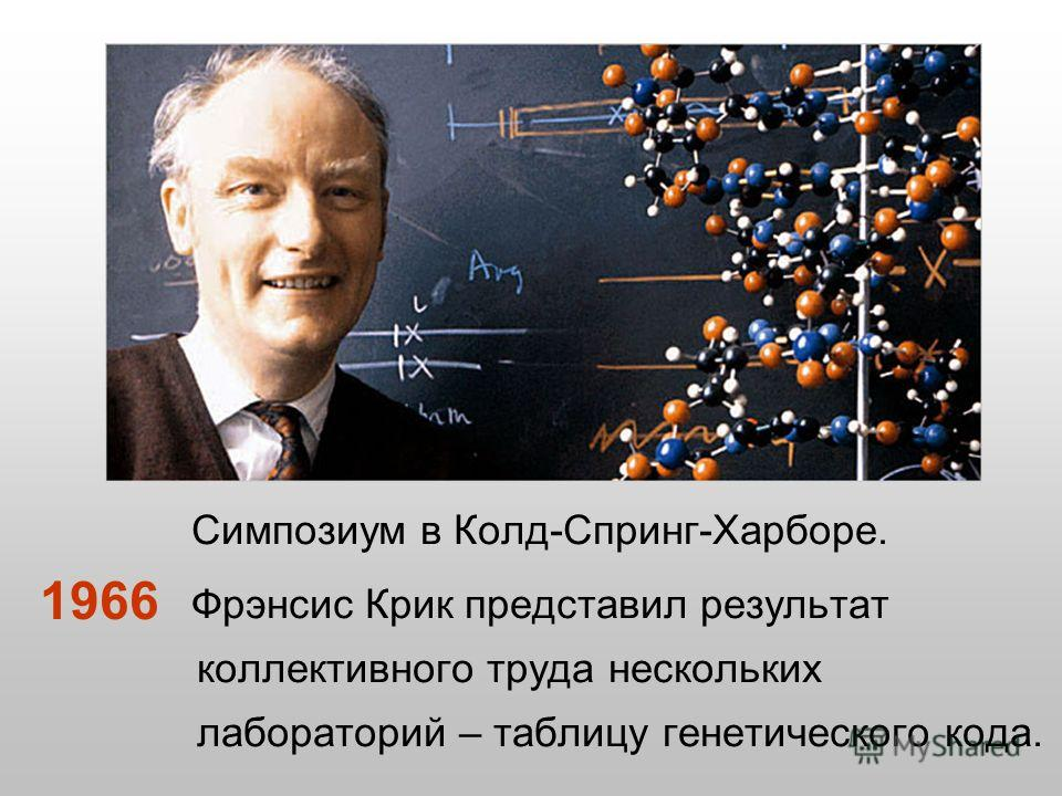 Симпозиум в Колд-Спринг-Харборе. Фрэнсис Крик представил результат коллективного труда нескольких лабораторий – таблицу генетического кода. 1966