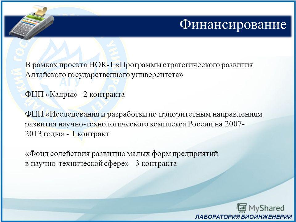 В рамках проекта НОК-1 «Программы стратегического развития Алтайского государственного университета» ФЦП «Кадры» - 2 контракта ФЦП «Исследования и разработки по приоритетным направлениям развития научно-технологического комплекса России на 2007- 2013