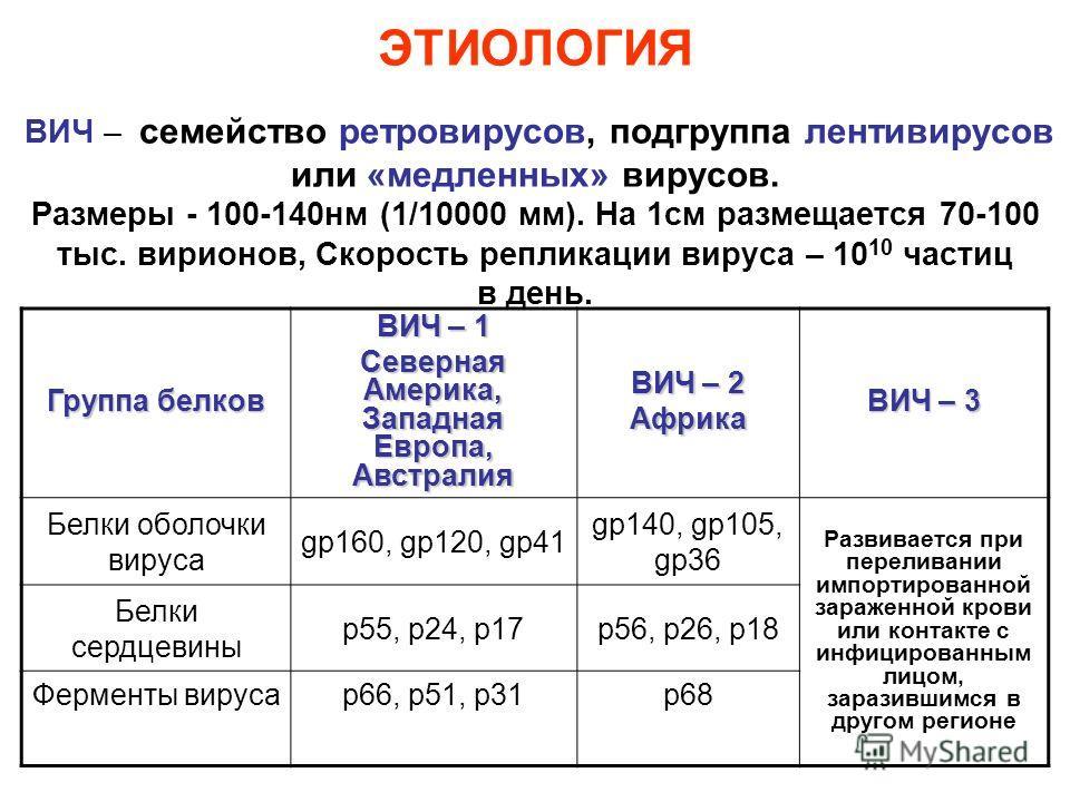 ЭТИОЛОГИЯ ВИЧ – семейство ретровирусов, подгруппа лентивирусов или «медленных» вирусов. Размеры - 100-140нм (1/10000 мм). На 1см размещается 70-100 тыс. вирионов, Скорость репликации вируса – 10 10 частиц в день. Группа белков ВИЧ – 1 Северная Америк