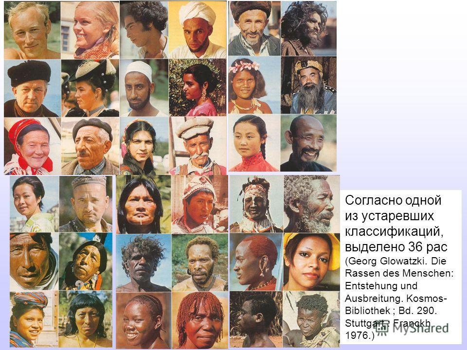 Согласно одной из устаревших классификаций, выделено 36 рас (Georg Glowatzki. Die Rassen des Menschen: Entstehung und Ausbreitung. Kosmos- Bibliothek ; Bd. 290. Stuttgart : Franckh 1976.)