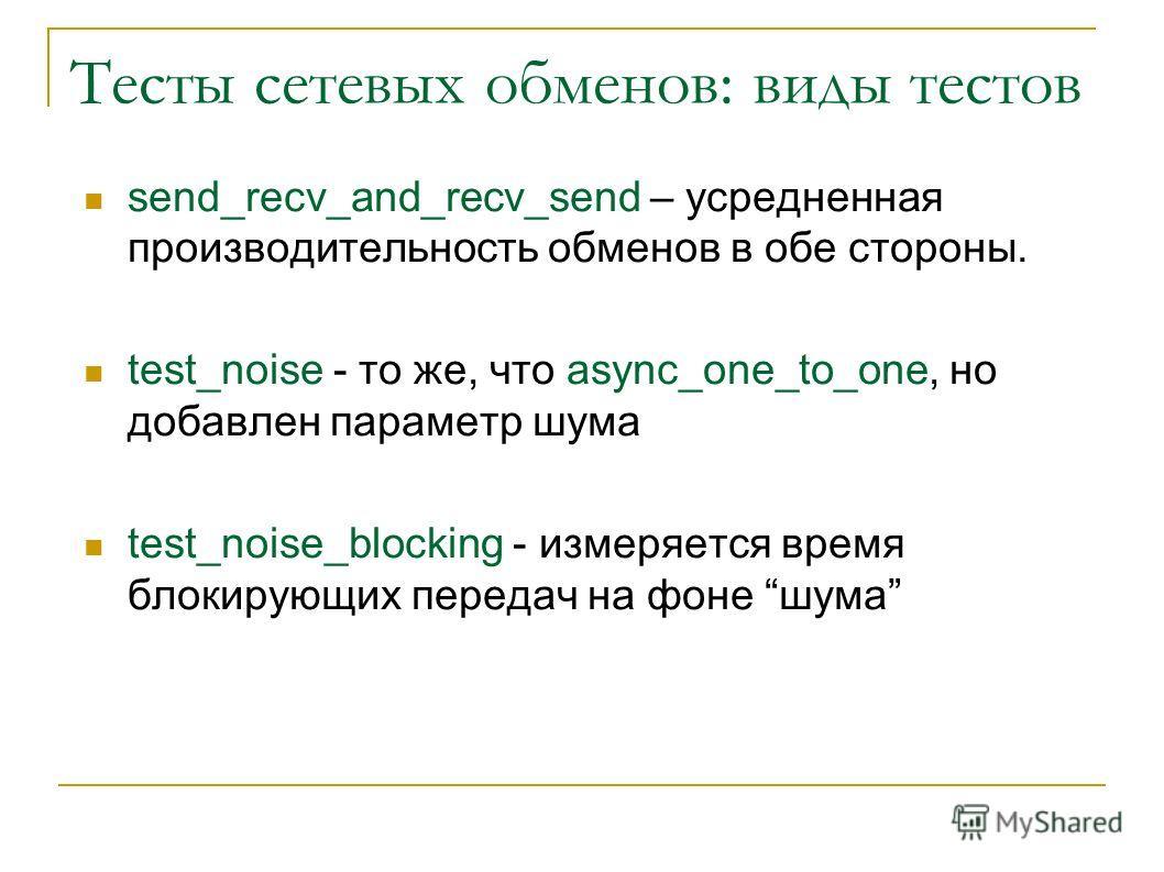 Тесты сетевых обменов: виды тестов send_recv_and_recv_send – усредненная производительность обменов в обе стороны. test_noise - то же, что async_one_to_one, но добавлен параметр шума test_noise_blocking - измеряется время блокирующих передач на фоне