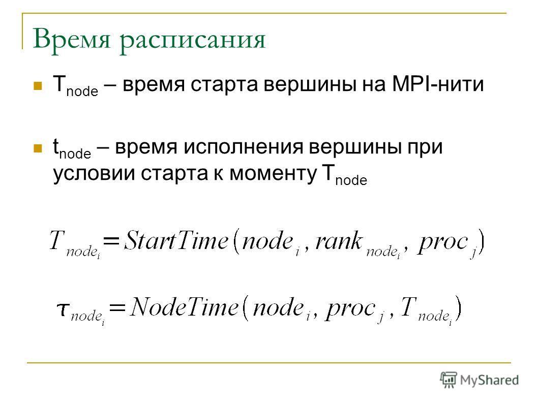 Время расписания T node – время старта вершины на MPI-нити t node – время исполнения вершины при условии старта к моменту T node