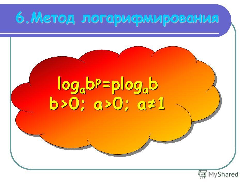6.Метод логарифмирования log a b р =рlog a b b>0; a>0; a1 log a b р =рlog a b b>0; a>0; a1