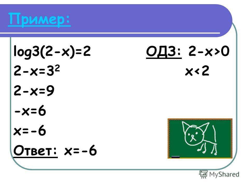 Пример: log3(2-x)=2 ОДЗ: 2-x>0 2-x=3 2 x