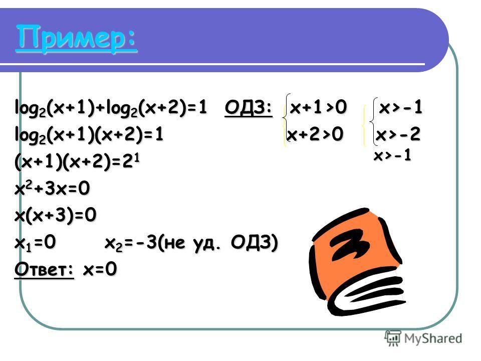 Пример: log 2 (x+1)+log 2 (x+2)=1 ОДЗ: x+1>0 x>-1 log 2 (x+1)(x+2)=1 x+2>0 x>-2 (x+1)(x+2)=2 1 х>-1 x 2 +3x=0 x(x+3)=0 x 1 =0 x 2 =-3(не уд. ОДЗ) Ответ: x=0