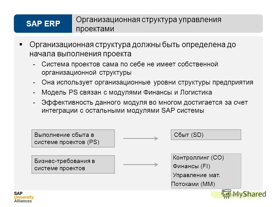 SAP ERP Seite 5-4 Организационная структура управления проектами Организационная структура должны быть определена до начала выполнения проекта -Система проектов сама по себе не имеет собственной организационной структуры -Она использует организационн