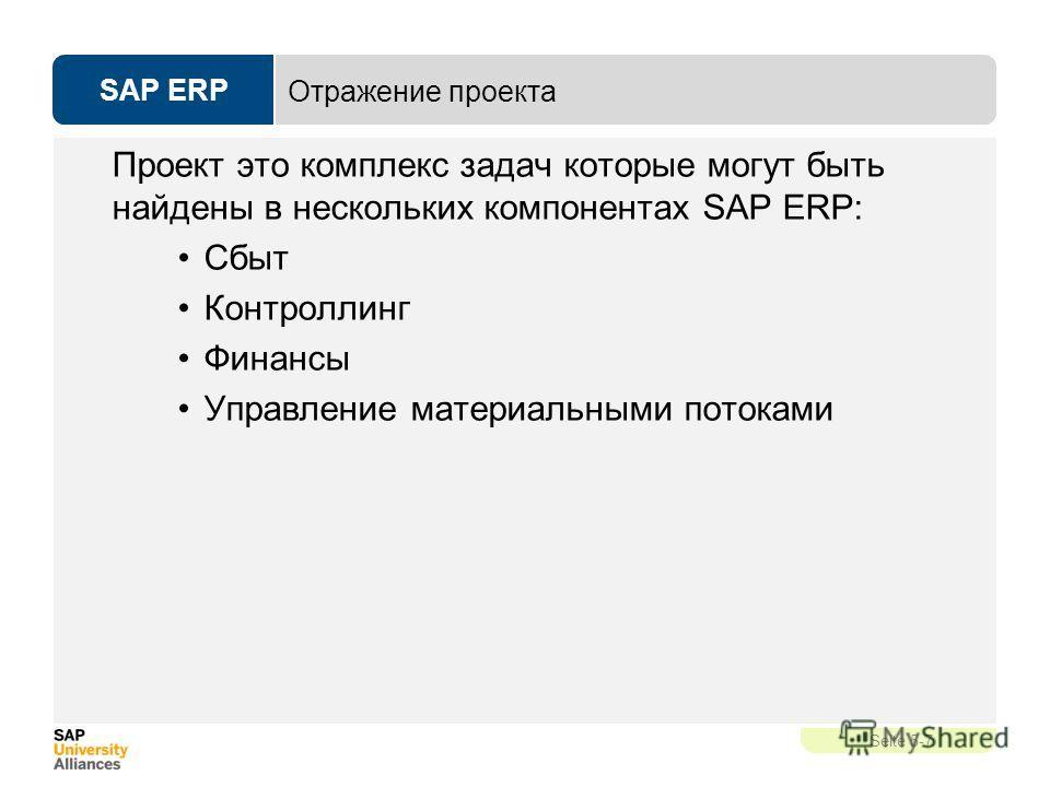 SAP ERP Seite 5-7 Отражение проекта Проект это комплекс задач которые могут быть найдены в нескольких компонентах SAP ERP: Сбыт Контроллинг Финансы Управление материальными потоками