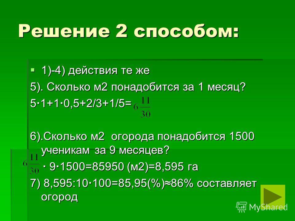 Решение 2 способом: 1)-4) действия те же 1)-4) действия те же 5). Сколько м2 понадобится за 1 месяц? 5 1+1 0,5+2/3+1/5= 6).Сколько м2 огорода понадобится 1500 ученикам за 9 месяцев? 9 1500=85950 (м2)=8,595 га 9 1500=85950 (м2)=8,595 га 7) 8,595:10 10