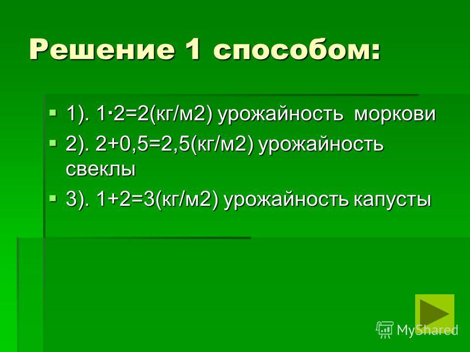 Решение 1 способом: 1). 1 2=2(кг/м2) урожайность моркови 1). 1 2=2(кг/м2) урожайность моркови 2). 2+0,5=2,5(кг/м2) урожайность свеклы 2). 2+0,5=2,5(кг/м2) урожайность свеклы 3). 1+2=3(кг/м2) урожайность капусты 3). 1+2=3(кг/м2) урожайность капусты