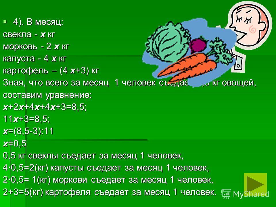 4). В месяц: 4). В месяц: свекла - х кг морковь - 2 х кг капуста - 4 х кг картофель – (4 х+3) кг Зная, что всего за месяц 1 человек съедает 8,5 кг овощей, составим уравнение: х+2х+4х+4х+3=8,5; 11х+3=8,5; х=(8,5-3):11 х=0,5 0,5 кг свеклы съедает за ме