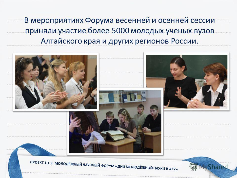 В мероприятиях Форума весенней и осенней сессии приняли участие более 5000 молодых ученых вузов Алтайского края и других регионов России. ПРОЕКТ 1.1.5: МОЛОДЁЖНЫЙ НАУЧНЫЙ ФОРУМ «ДНИ МОЛОДЁЖНОЙ НАУКИ В АГУ»